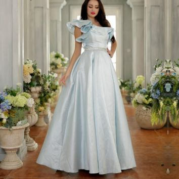 Elegant Prom Dresses for Girls One-Shoulder Simple Ball Gowns Floor-Length Long Party Gowns