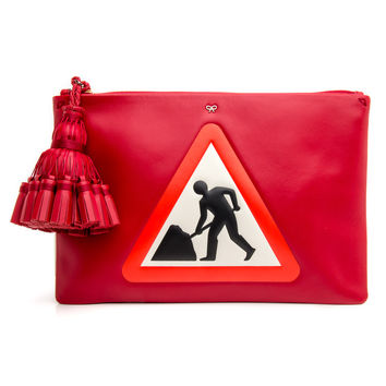 Anya Hindmarch Red Georgiana Men at Work Pouch