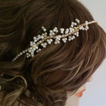 Gold Bridal Headband, Wedding Headbands with Pearls Rhinestones | LaLaMooD