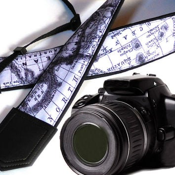 Black and White World Map Camera Strap. DSLR / SLR Camera Strap. North America. Australia. For Sony, canon, nikon, panasonic, fuji and other cameras.