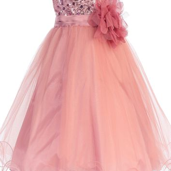 Rose Sequins, Satin & 2 Layer Mesh Overlay Dress with Double Ruffle Hem (Baby Girls)