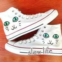 Poppy Cat-painted shoes/Converse canvas shoes/Custom canvas shoes/Sneakers/graffiti sh