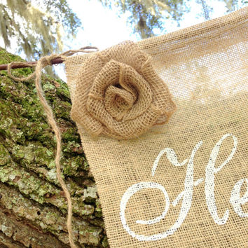 Burlap Here Comes the Bride Sign, Wedding, Rustic, Country, Flower GIrl, Accessory, Decoration MADE TO ORDER
