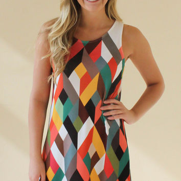Sleeveless Geometric Dress  - Brown
