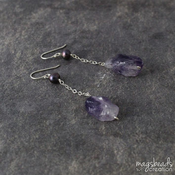 SALE - Long Chain Rough Amethyst Earrings, Lavender Purple Shade Jewelry, Amethyst Stone Jewellery. Purple Stone Earring, Sterling Silver