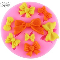 8 Mini Bows Butterfly Silicone Mold Cake Fondant Sugar Bow Craft Molds DIY Wedding Cake Decorating Tools Candy Soap Molds