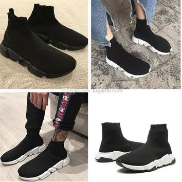 ONETOW paris balenciaga original good quality red yellow speed trainer casual shoe man woman sock boots with box stretch knit casual boots race runner cheap sneaker high top 2