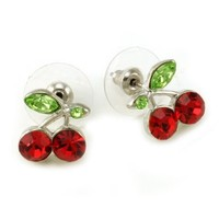 Green Leaf Red Fruit Cherry Stud Post Earrings Fashion Jewelry