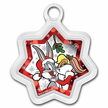 2018 Tuvalu 1 oz Silver Looney Tunes Christmas (Star Shaped)