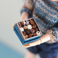 Miniature Chocolate Box - Night Blue And Stars - Dollhouse Miniature in 1/12 Scale