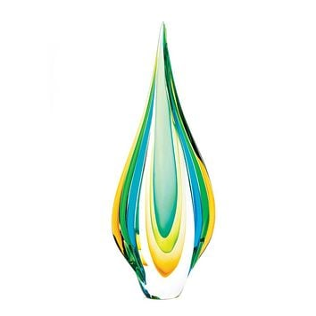 Twisted Tear Drop Art Glass