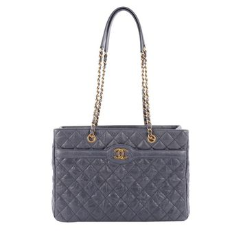Chanel Two Tone Shopping Tote Quilted Caviar