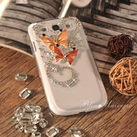 Samsung Galaxy S3 I9300 case - 100% Hand-drawn Case for Samsung Galaxy S3 SIII - Diamond Butterflies charm case
