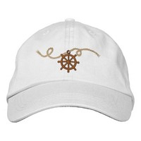 Nautical Captains Wheel and Rope Embroidered Baseball Cap
