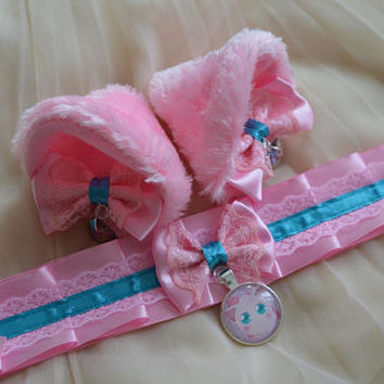 Kitten play collar and ears - Jiglypuff love - ddlg princess cute sweet kawaii lolita pokemon - turquoise blue and pastel pink choker set