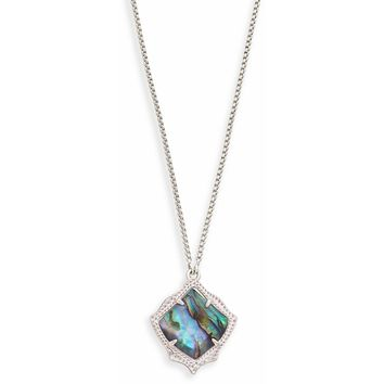 Kendra Scott:  Kacey Silver Long Pendant Necklace in Abalone Shell