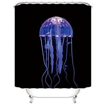 "CHARMHOME Magic Glowing Jellyfish Underwater World Bath Home Decor of Waterproof Bathroom Polyester Fabric Mildew Resistant Shower Curtains 72""(w)x72"" (h)Inch"