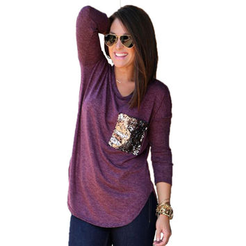 Fashion Casual Sequin Pocket T Shirt Women 2017 Autumn Long Sleeve Jumper Tunic T-Shirt Pullover Female Camiseta Mujer Plus Size