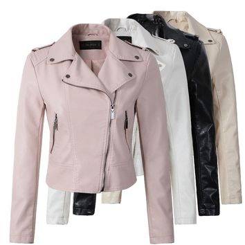 Brand Motorcycle PU Leather Jacket Women Winter And Autumn New Fashion Coat 4 Color Zipper Outerwear jacket New   Coat HOT