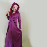 Vintage Hooded Evening Coat & Matching Gown Ensemble - 70s Slinky Qiana