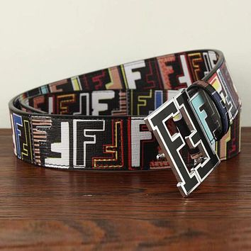 FENDI Trending Woman Men Stylish F Letter Smooth Buckle Belt Leather Belt Black/Colorful I12815-1