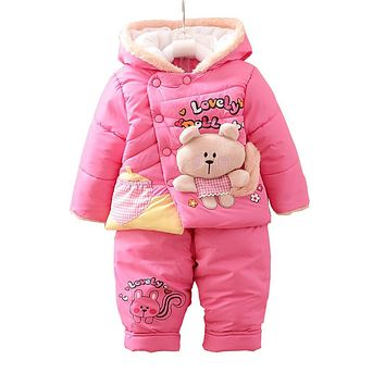 baby Girls snowsuit parkas clothing set winter coat children bear hooded thicken infant winter clothes set