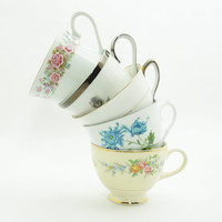 5 mismatched teacups tea cups - Unique wedding favors - Bridal shower favors - Instant collection - Cottage chic decor