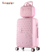 """20""""22""""24""""26""""28""""in Hello Kitty Luggage Set,Children Women's Lightweight Suitcase,Colorful ABS Travel Box,Rolling Trolley Hardcase"""