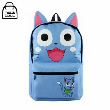 Anime Fairy Tail Happy Cat School Bags For Children Cut Blue Canvas Cartoon Character Shoulder Backpack Cosplay Collection Girl