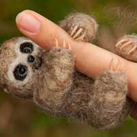 Felted sloth, felt animal, needle felted creature, wool toy, exotic, soft sculpture, cute, small, gift