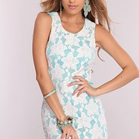 Seafoam White Embroider Lace Party Dress