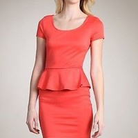 Candy Colored Short Sleeve Fitted Slim Peplum Bodycon DRESS