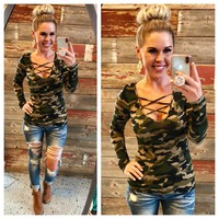 Criss Cross Camo Top