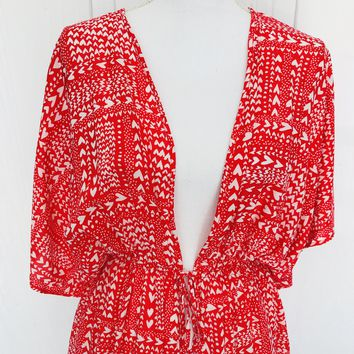 Victoria's Secret Heart Print Open Tunic, One Size
