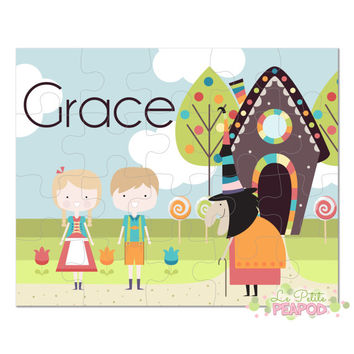 "Hansel and Gretel Puzzle - Personalized 8"" x 10"" Puzzle - 20 or 100 pieces - Nursery Rhyme Puzzle Design - Personalized Name Puzzle"