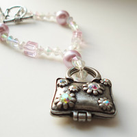 Purse Charm Bracelet, Sweet Pink Glass Jewelry