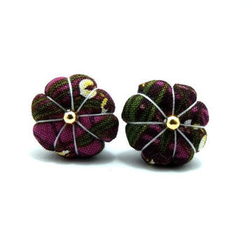 Ume Flower Earrings/ Clip on earrings-  Dark Purple Ume Kimono Flower With Gold Beads