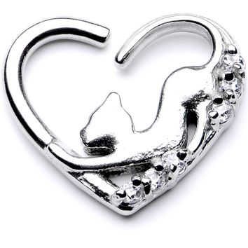 "16 Gauge 3/8"" Clear CZ Gem Cats Meow Left Heart Closure Ring"