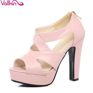 VALLKIN 2018 Sexy Peep Toe White Gladiator Summer Women Shoes Thick High Heel Woman Pumps Zipper Wedding /party Shoes Size 34-43