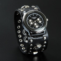 Fashion Punk  Adjustable Leather Wristband Cuff Watch Bracelet  - Great for Men, Women, Teens, Boys, Girls 2749s