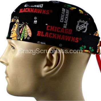 Men's Fold-Up Cuffed or Un-Cuffed Surgical Scrub Hat Cap in Chicago Blackhawks Black