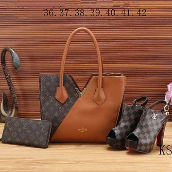LV Louis Vuitton 2018 new women's high quality three-piece Messenger bag F-KSPJ-BBDL brown