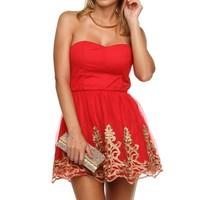 Promo-red Mesh Embroidered Tunic