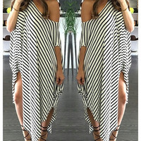 Casual Short Sleeve Striped Asymmetric Dress