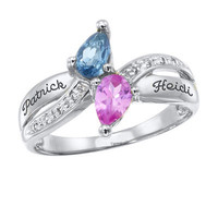 Ladies' Sterling Silver Couples Simulated Birthstone Ring with Cubic Zirconia by ArtCarved® (2 Stones and 2 Lines)