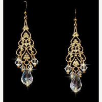 Gold Chandelier Earrings with Swarovski Crystals