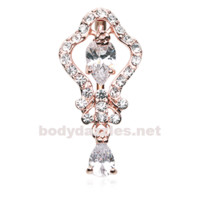 Rose Gold Hera Sparkle Reverse Belly Button Ring Navel Ring 14ga Surgical Steel