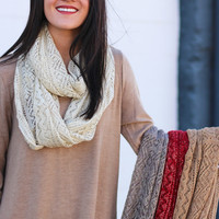 Gold Shimmer Knit Infinity Scarf