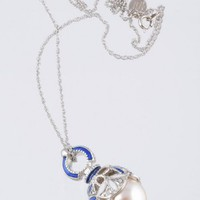 Silver & Blue Pearl Egg Pendant Necklace