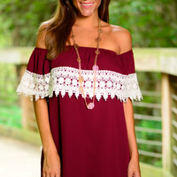 Half Time Special Dress,Burgundy/White
